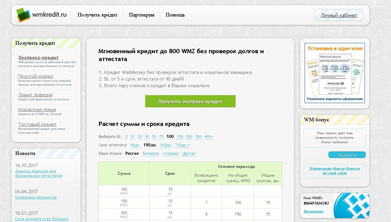сайт wmkredit